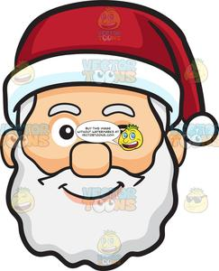 A Winking Face Of Santa Claus.
