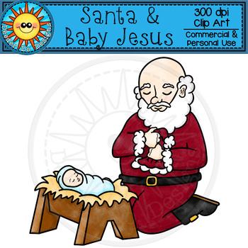 Santa and Baby Jesus Clip Art by Deeder Do.