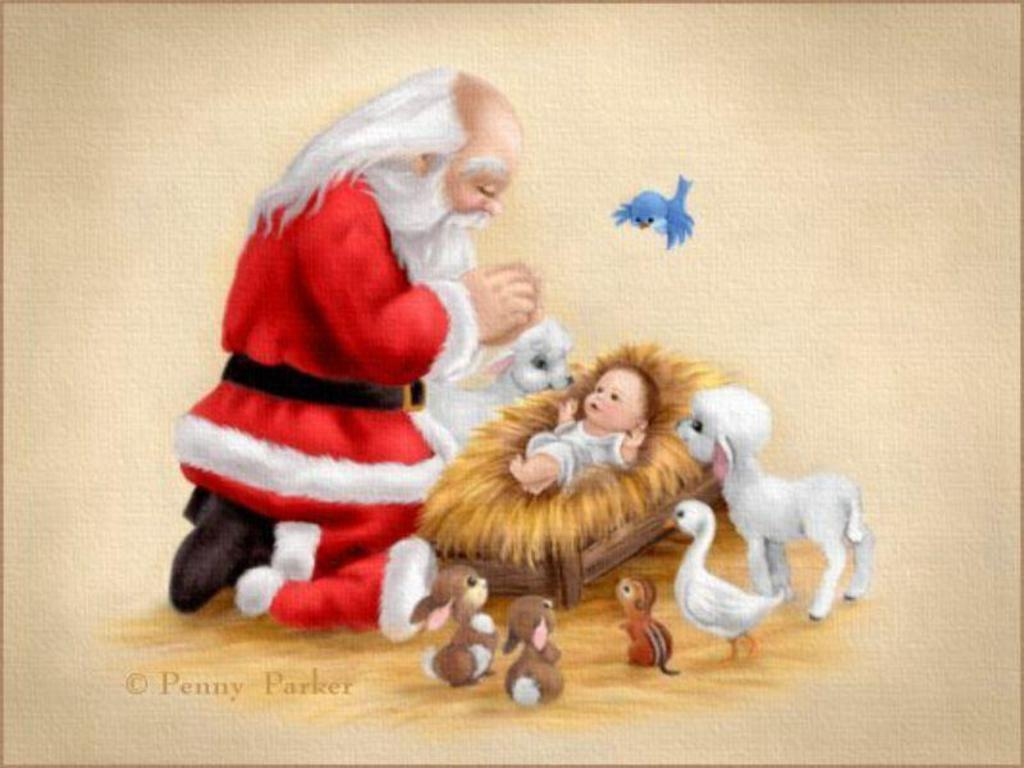 42+] Santa and Baby Jesus Wallpaper on WallpaperSafari.