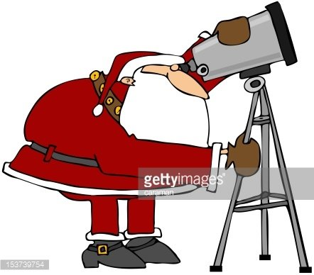Santa Looking Through A Telescope Clipart Image.