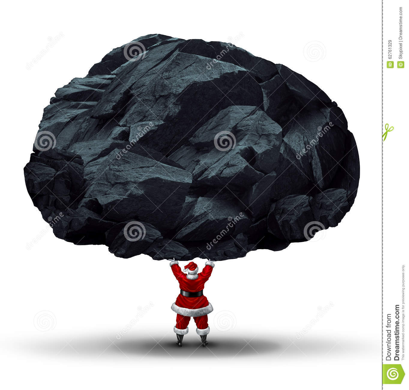 A Coal On Santa Claus Hand Royalty Free Stock Photography.