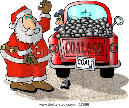 Illustration Of Santa Claus Directing A Truck Full Of Coal.
