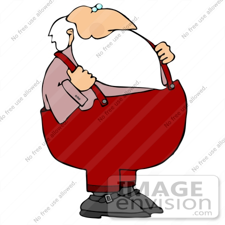 Santa in Suspenders on Christmas Clipart Picture Illustration.