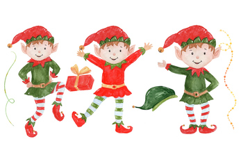 Watercolor clip art, Santa Claus Elf clipart, Kids clipart, Diy christmas.