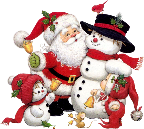 Cute Snowman Santa and Kid Clipart.
