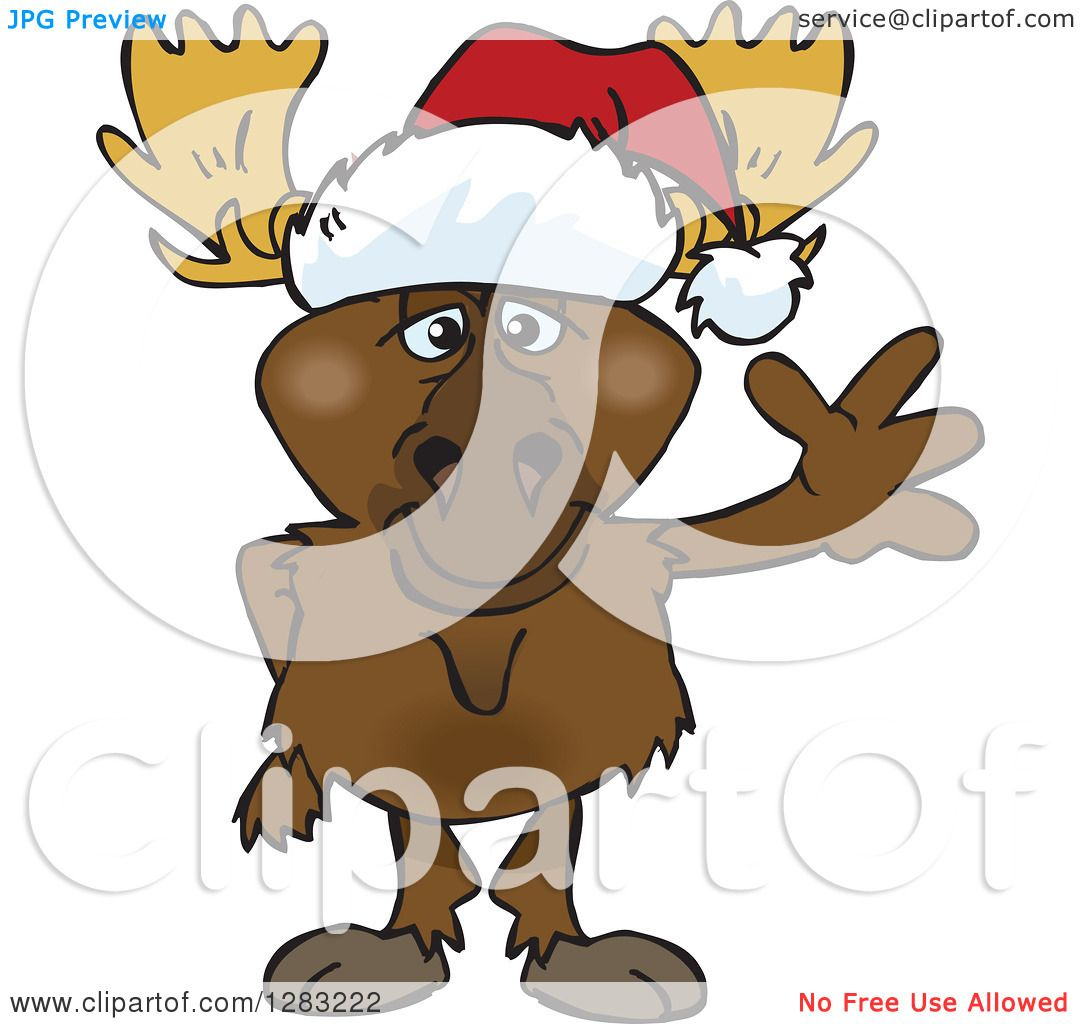 Clipart of a Friendly Waving Moose Wearing a Christmas Santa Hat.