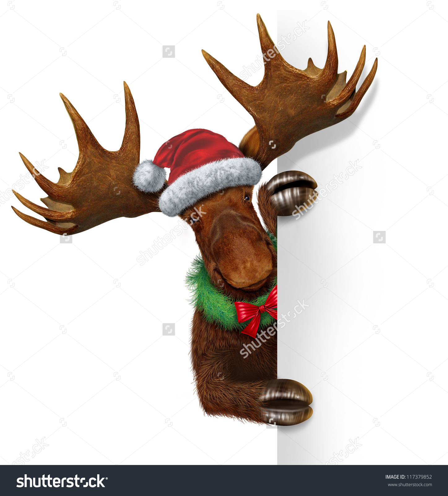 Santa With Moose Clipart.