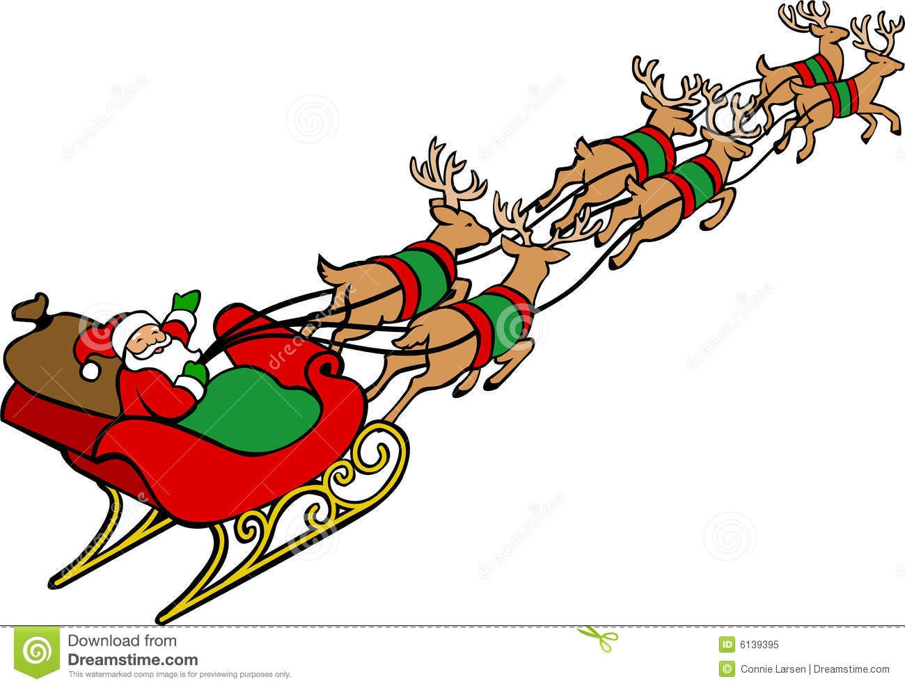 Santa Sleigh and Reindeer Clip Art.
