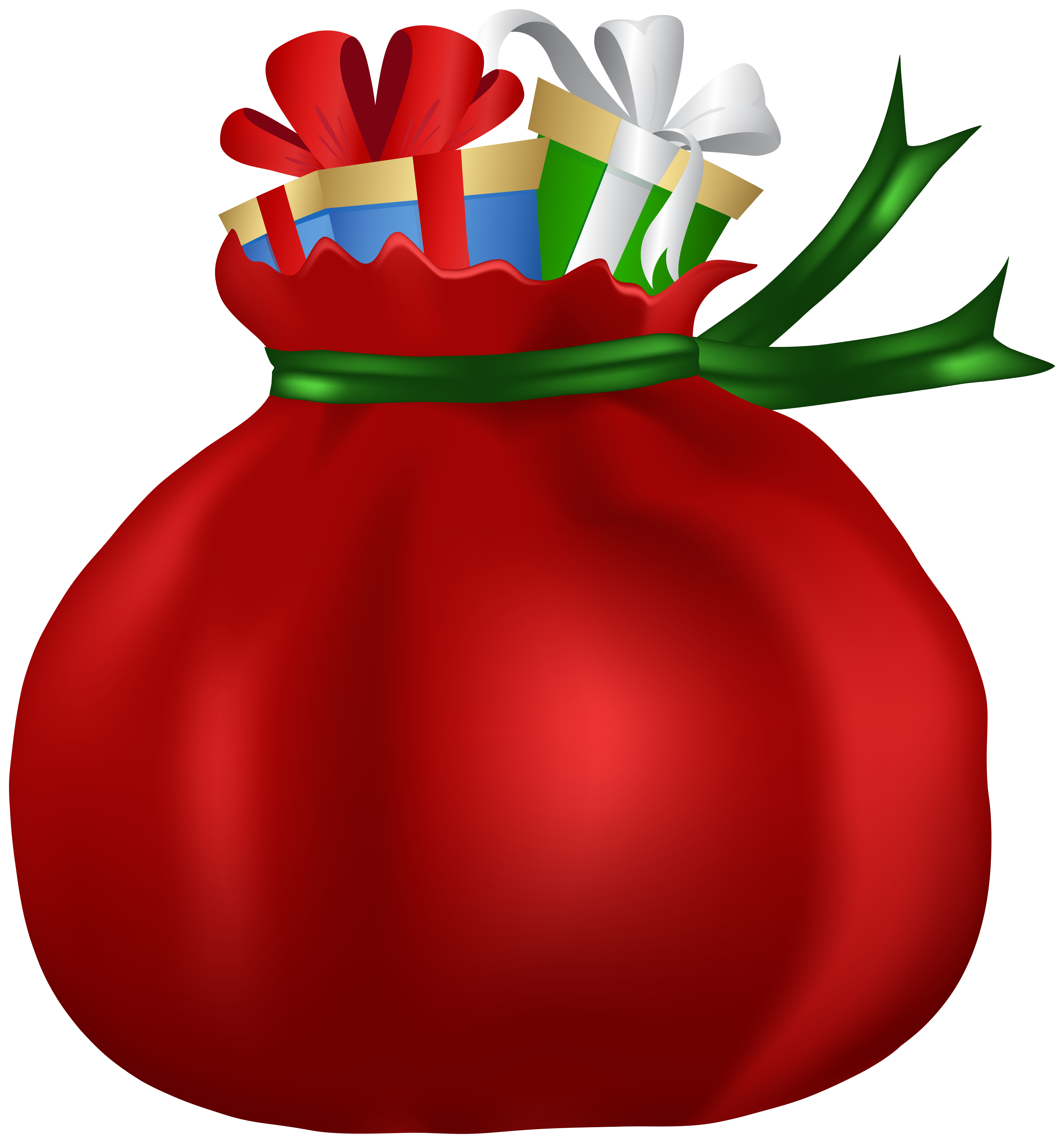 Red Santa Claus Bag Clip Art Image.