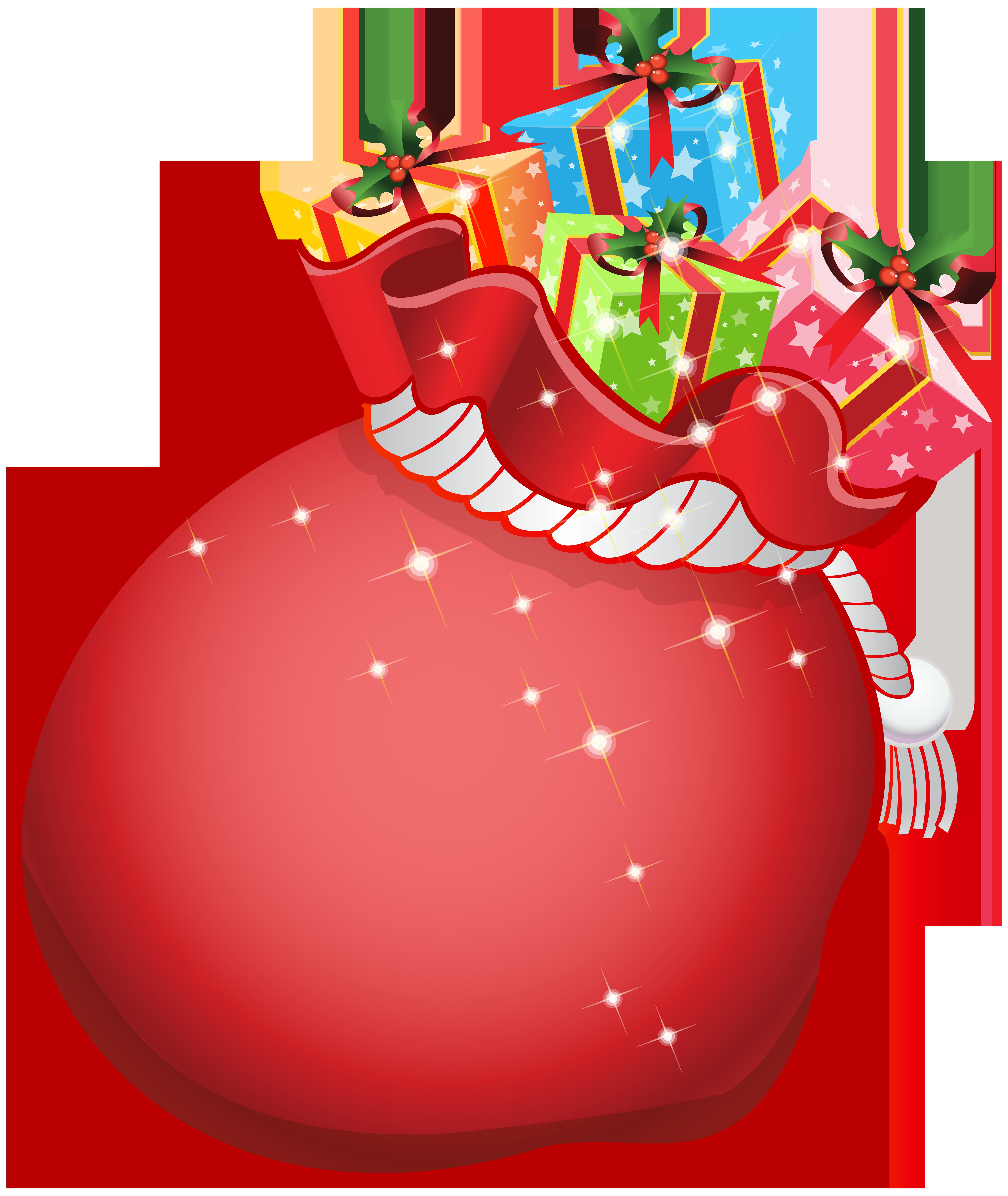 Santa Bag with Gifts Transparent PNG Clip Art.