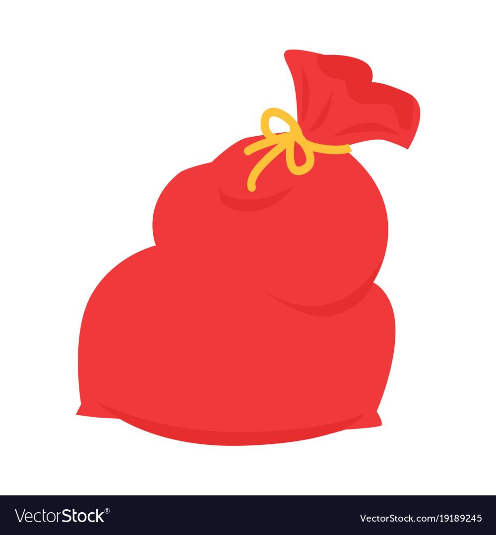Santa claus red bag isolated on white xmas sack.