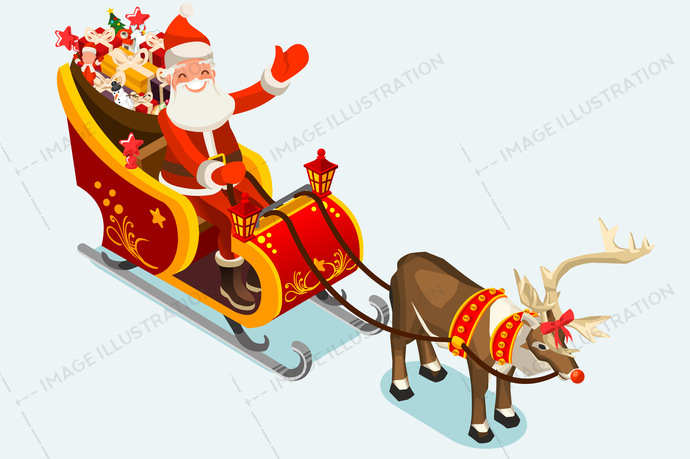 Clip Art of Santa Sleigh Vector Illustration.