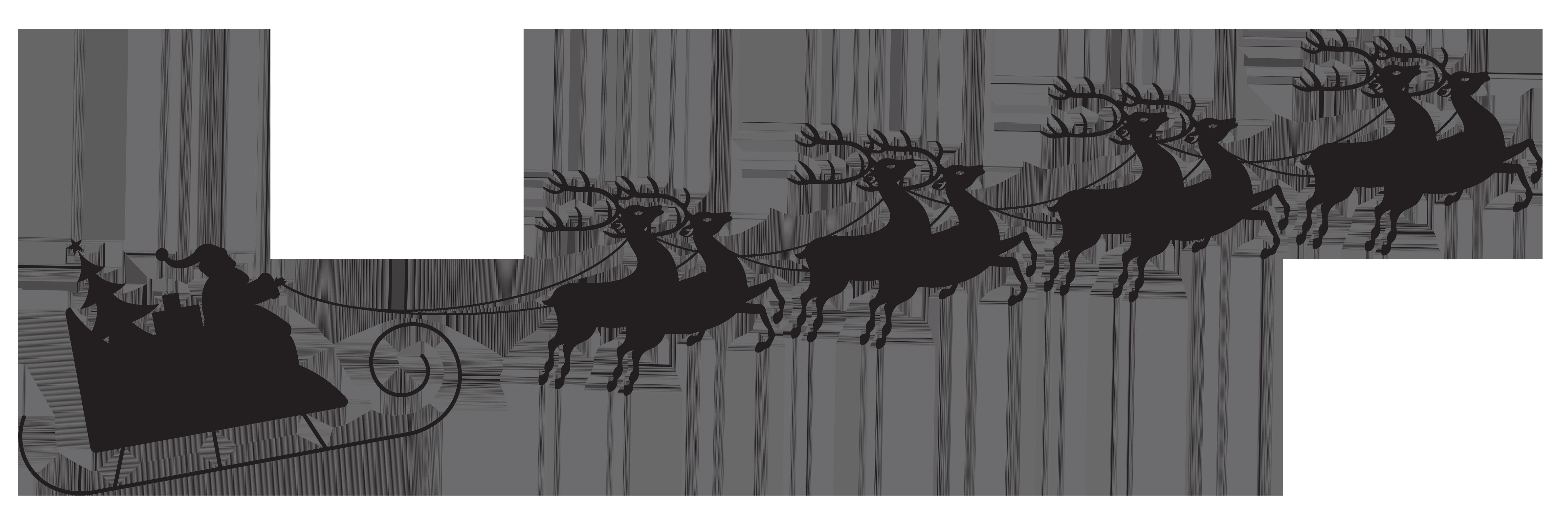 Reindeer Santa Claus Silhouette Sled Clip art.
