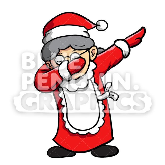 Mrs Santa Dabbing Christmas Vector Cartoon Clipart Illustration.