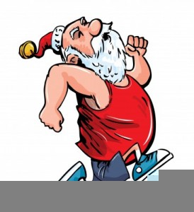 Santa Claus Exercising Clipart.