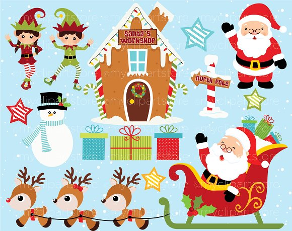 Christmas, Santa's Workshop Clipart ~ Illustrations on Creative Market.