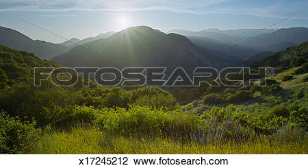 Stock Photo of Sunset over Santa Ynez Valley x17245212.