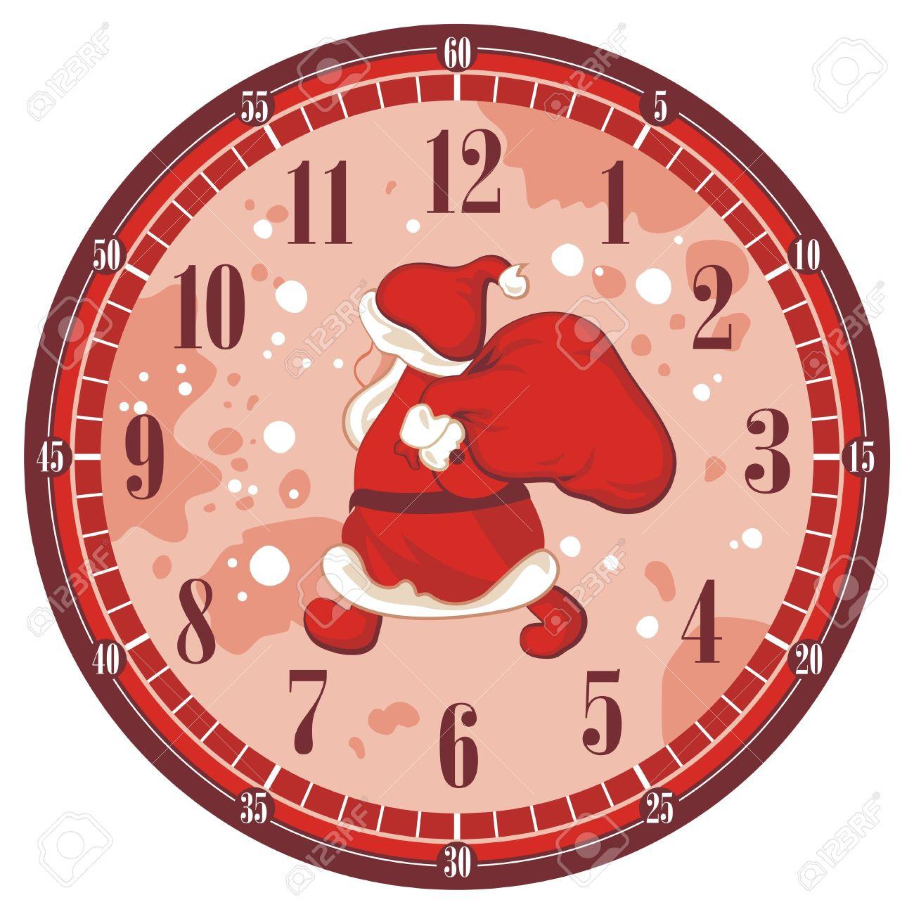 Aislado Reloj Navidad Con Santa Rostro Plantilla Ilustraciones.