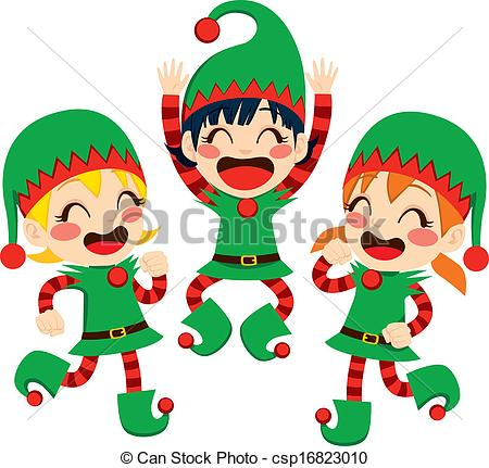 Vector Clip Art of Santa Claus Helpers Dancing.