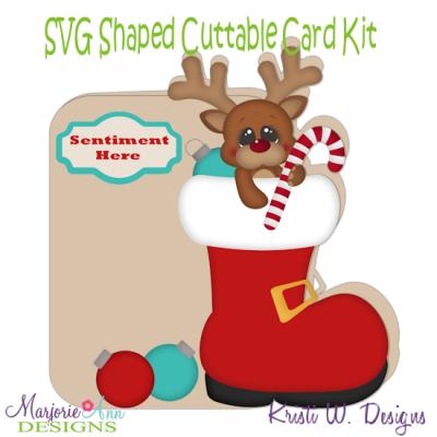 Santas Helper Reindeer~Shaped SVG/MTC Card Kit/Cutting File.