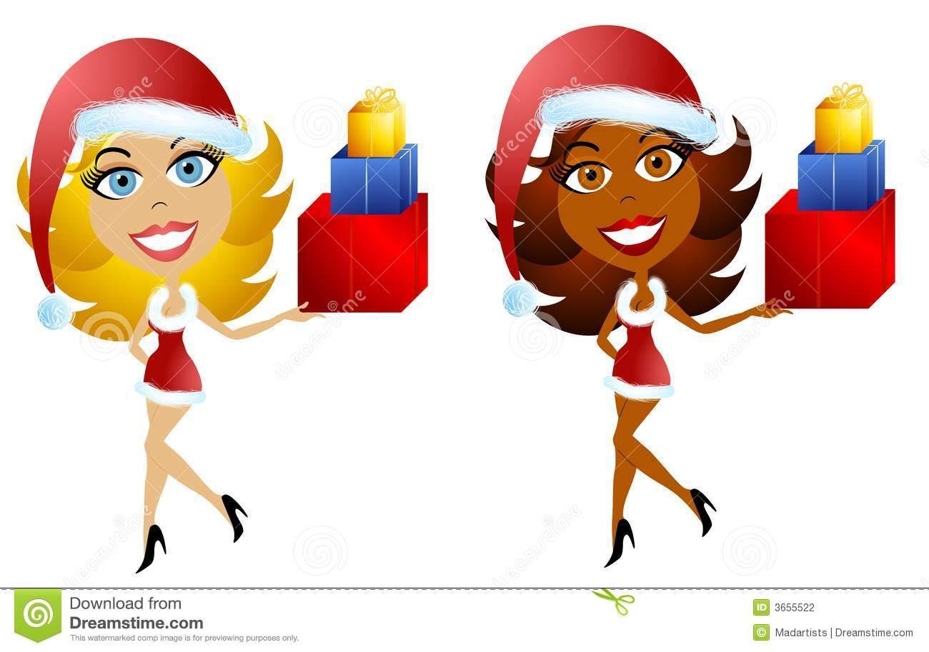African American Santa Elf Clip Art Royalty Free Stock Photo.
