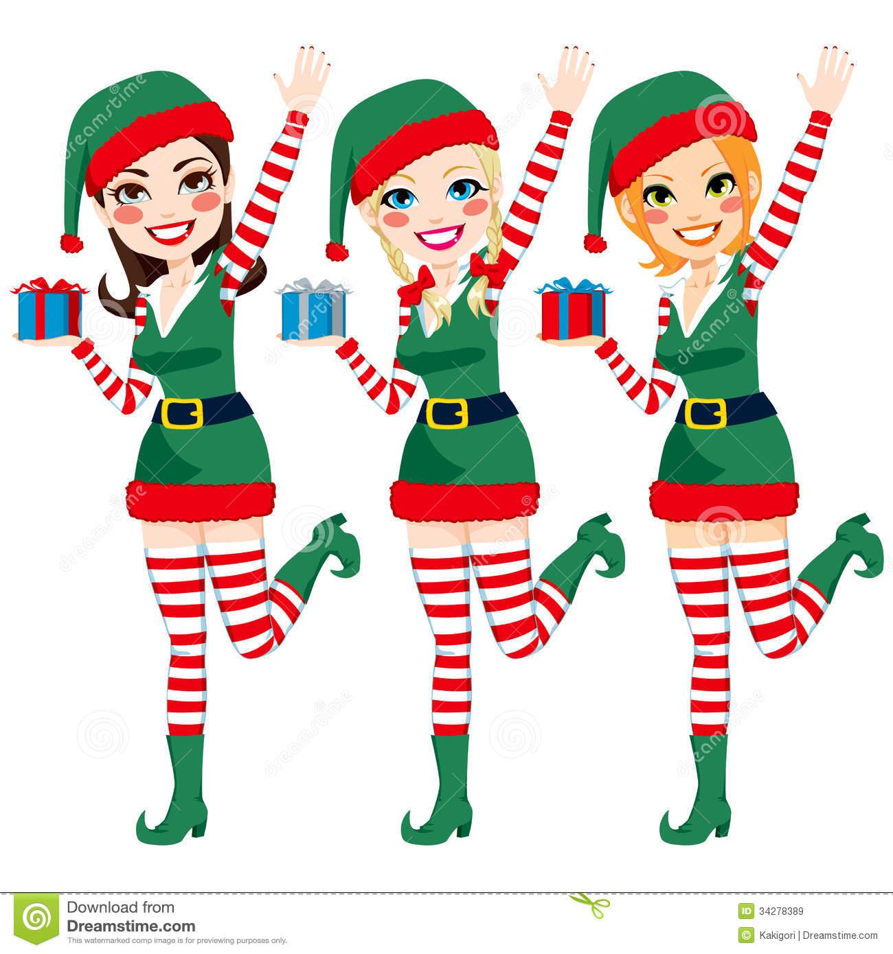 Beautiful Santa Elf Helpers Royalty Free Stock Images.