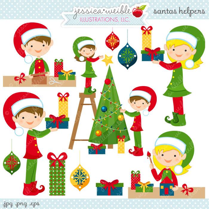 Santas Helpers Cute Digital Christmas Clipart Commercial Use.