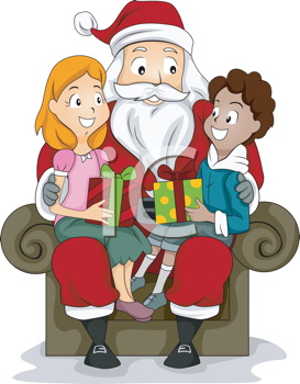 Royalty Free Clipart Image of a Boy and Girl in Santa\'s Lap.