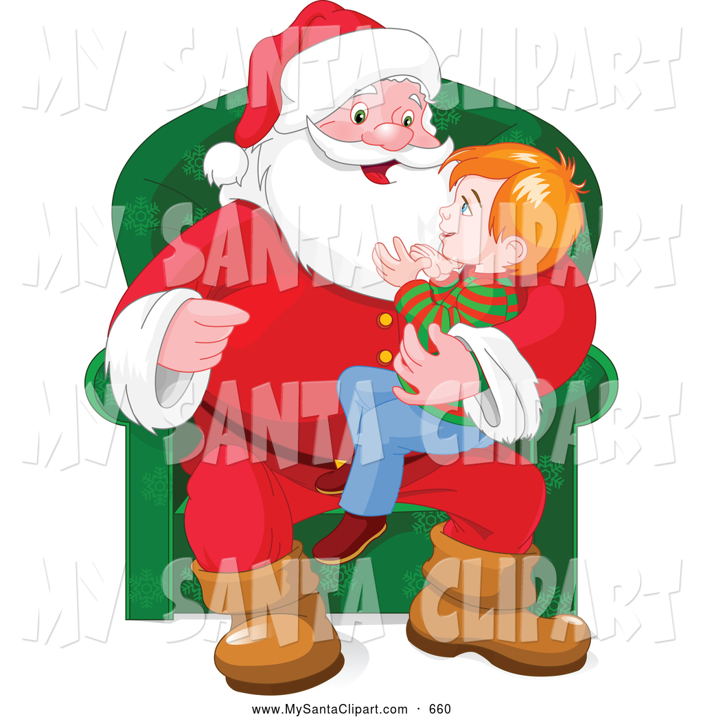 Clip Art of Happy Boy Sitting in Santa\'s Lap by Pushkin.