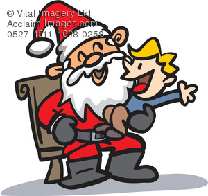 Clipart Illustration of a Boy on Santa\'s Lap.