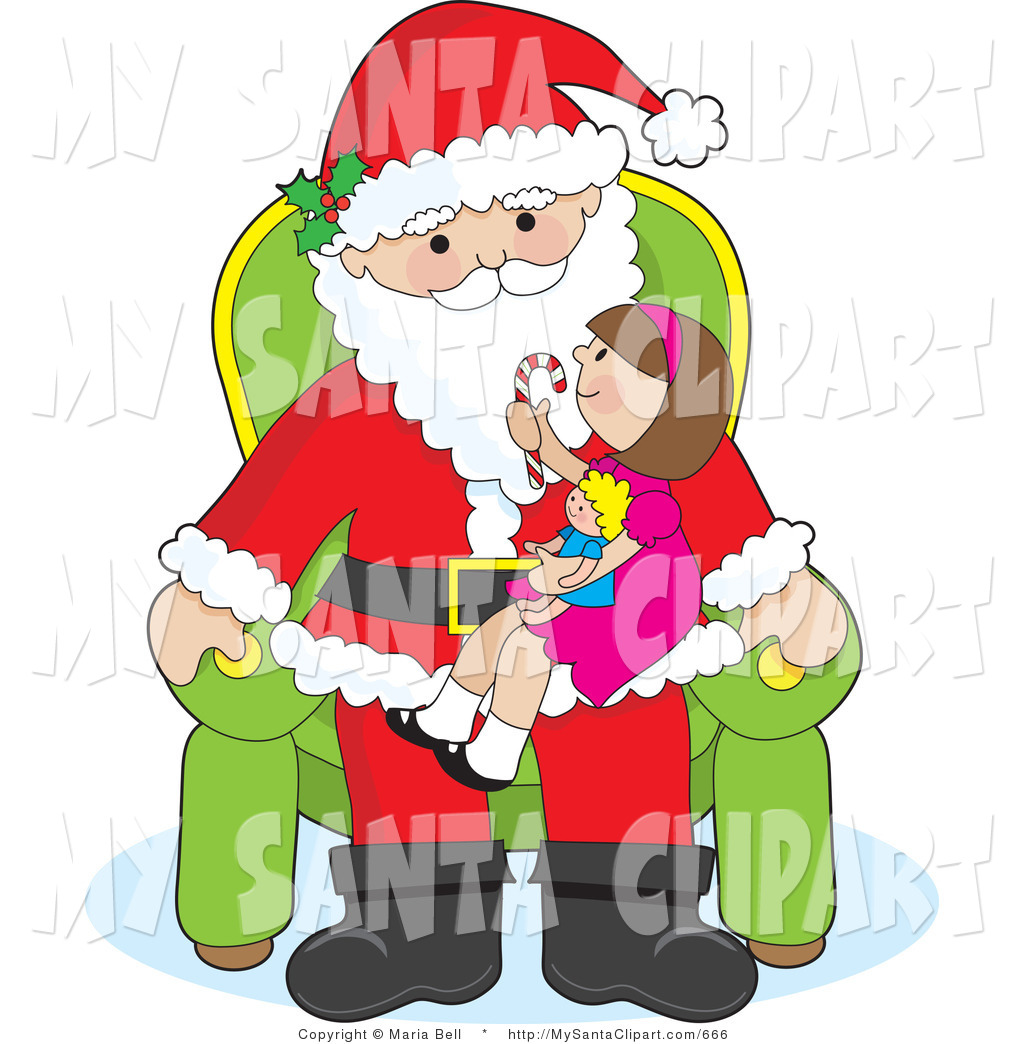Vector Christmas Clip Art of a Cute Girl Sitting on Santas.