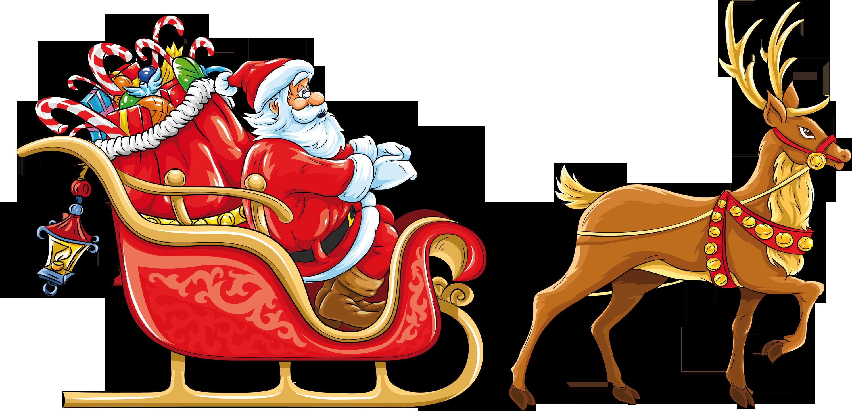 Santa sleigh PNG images free download.