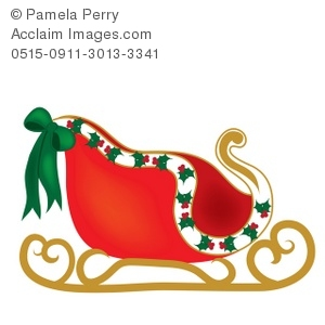 Clip Art Illustration of Santa\'s Sleigh.