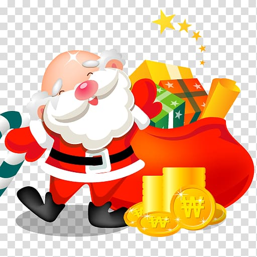 Santa Claus and sack of gifts illustration, toy christmas.