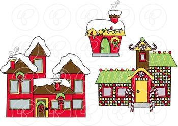 My Community Christmas Village Clipart by Poppydreamz.