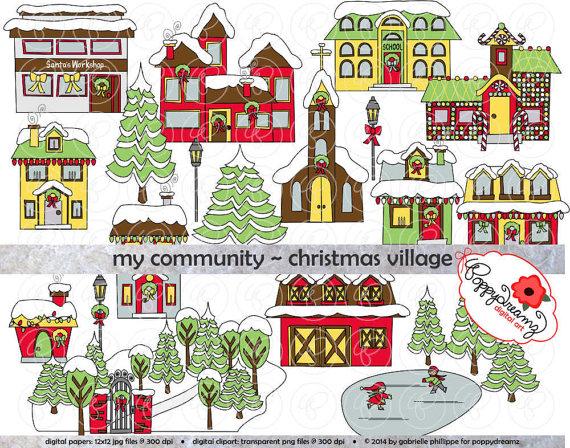 My Community Christmas Village Clipart: (300 dpi transparent.