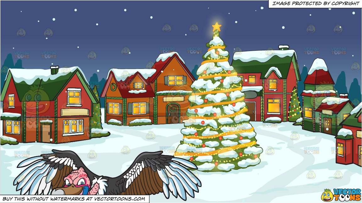 A Mighty Vulture and Santas Village Background.