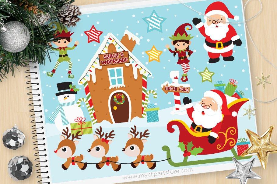 Christmas, Santa\'s Workshop Clipart.