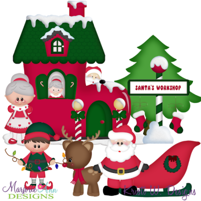 Santa\'s Workshop TWO SVG Cutting Files + Clipart.