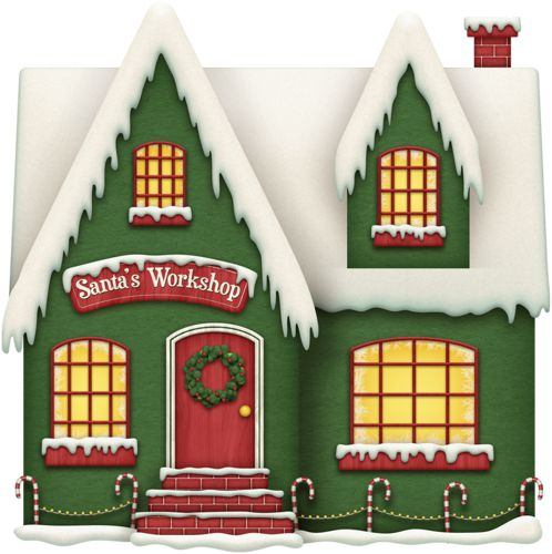 Santas Workshop Gingerbread House Clipart.