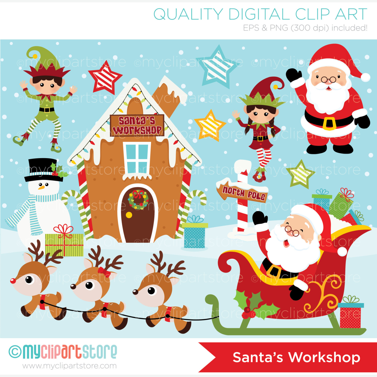 Vector Clipart North Pole / Santas Workshop / by MyClipArtStore.