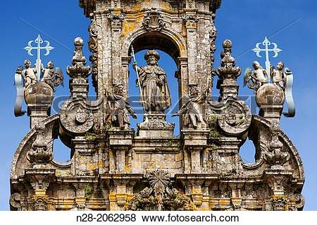 Pictures of Statue of St James the Apostle on the top of the.