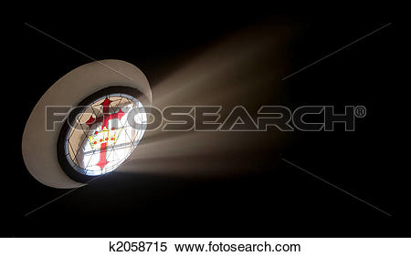 Stock Image of Oval stained glass window with Santiago cross.