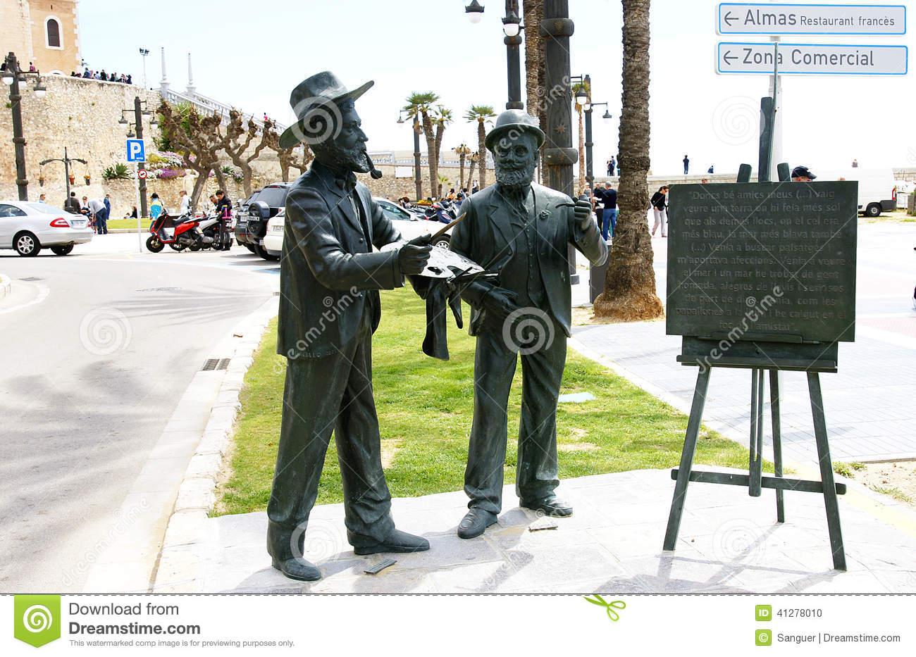 Sculpture Tribute To Ramon Casas And Santiago Rusiñol Editorial.