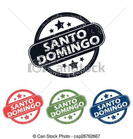 Clip Art Vector of Round Santo Domingo stamp set.