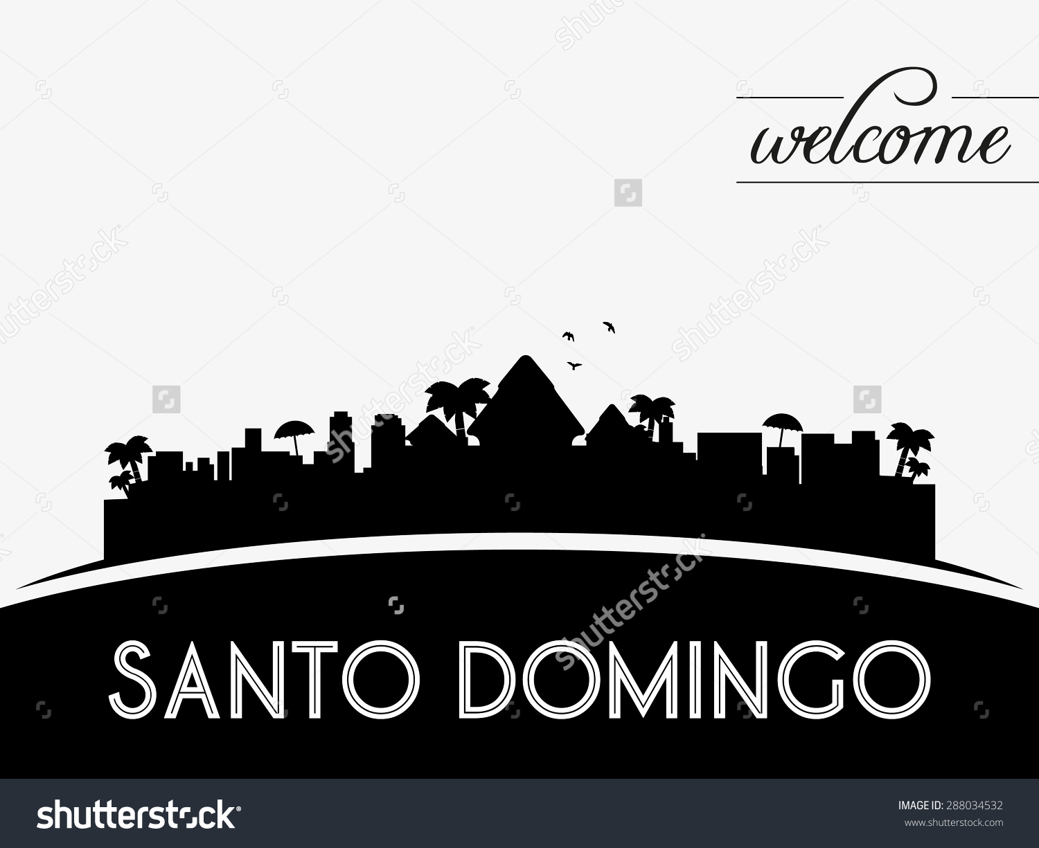 Santo Domingo Dominican Republic Skyline Silhouette Stock Vector.