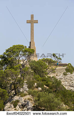 """Stock Photography of """"Creu d'es Picot, tall stone cross at the."""