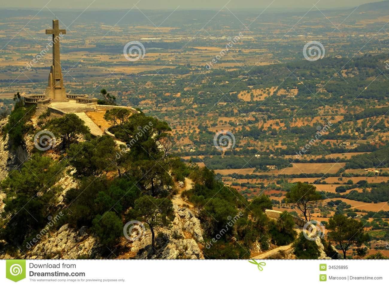 Stone Cross, Height 14 Meters, Puig De Sant Salvador Royalty Free.