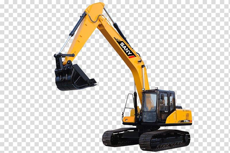 Yellow and black Sany excavator, Caterpillar Inc. Excavator.