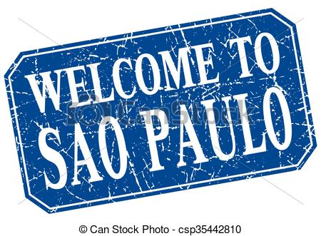 Vector Clip Art of welcome to Sao Paulo blue square grunge stamp.